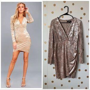 Lulu's Tinseltown Velvet Long Sleeve Bodycon Dress